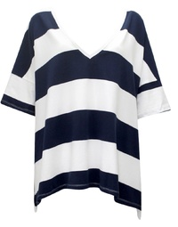 Navy/ White Stripe Oversize Tee
