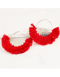 Fringed Fabric Edged Half Circle Earrings Red