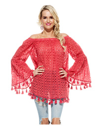 Alana Top Fortune Schiffli Red