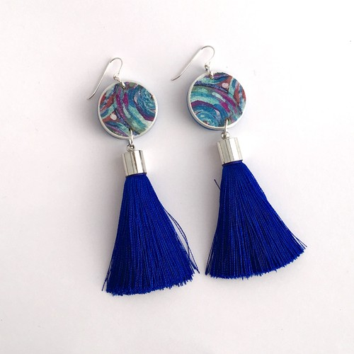 Paint Me Blue Tassel Art Earrings