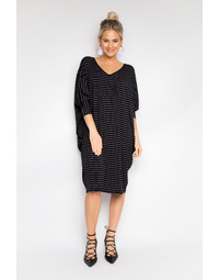 Long Sleeve Miracle Dress in Pinstripe