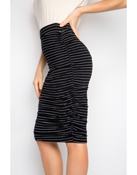 Ruche Skirt in Black Pinstripe