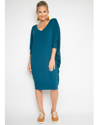 Bamboo Long Sleeve Miracle Dress in Teal